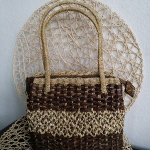 Handbags - *Straw Bag*Petite Size*Brown &Tan